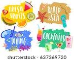 vector set of hand drawn... | Shutterstock .eps vector #637369720