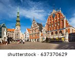 riga  latvia   july  2012  main ... | Shutterstock . vector #637370629