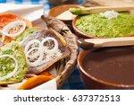 close up of tostadas.   Shutterstock . vector #637372513
