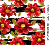 illustration of floral seamless.... | Shutterstock .eps vector #637373038