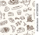 hand drawn french cuisine food... | Shutterstock .eps vector #637383028