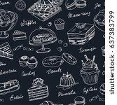 vector hand drawn desserts... | Shutterstock .eps vector #637383799