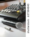 microphone and mixer  surround... | Shutterstock . vector #637384840