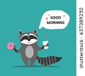 happy cute raccoon holds pink... | Shutterstock .eps vector #637389250