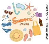 set of things for a beach... | Shutterstock .eps vector #637391350