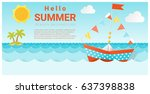 hello summer background with... | Shutterstock .eps vector #637398838