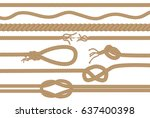 rope brushes with different... | Shutterstock .eps vector #637400398