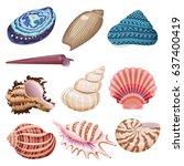 vector sea shells set.   Shutterstock .eps vector #637400419