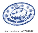 Blue grunge Christmas stamp with the text Merry Christmas written inside - stock vector