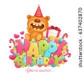 happy birthday invitation card... | Shutterstock .eps vector #637402870