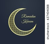 ramadan greeting card on dark... | Shutterstock .eps vector #637404088