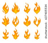fire light set. flat icon... | Shutterstock .eps vector #637405534