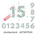 colorful confetti in the form... | Shutterstock .eps vector #637407034