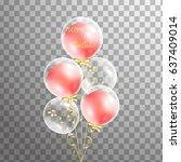 bunch of happy birthday red ... | Shutterstock .eps vector #637409014