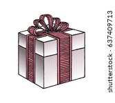 hand drawn gift box with red... | Shutterstock .eps vector #637409713