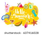 vector hand drawn colorful ... | Shutterstock .eps vector #637416028