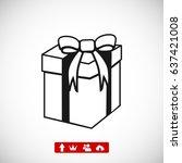 gift icon  stock vector... | Shutterstock .eps vector #637421008