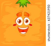 vector happy carrot face with... | Shutterstock .eps vector #637421950
