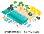 isometric cartoon vector people ... | Shutterstock .eps vector #637424608