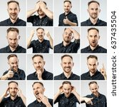 set of young man's portraits... | Shutterstock . vector #637435504