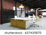 office interior with yellow and ... | Shutterstock . vector #637435870