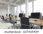 side view of an open office... | Shutterstock . vector #637435939