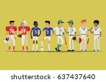 cool vector line up of... | Shutterstock .eps vector #637437640