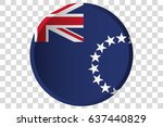 a 3d button of the flag of cook ... | Shutterstock .eps vector #637440829