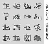 lift icons set. set of 16 lift... | Shutterstock .eps vector #637441780