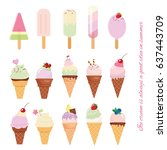 ice cream cone and popsicle set ... | Shutterstock .eps vector #637443709
