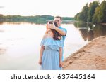 marriage proposal on sunset .... | Shutterstock . vector #637445164