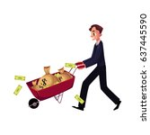 young man  businessman pushing... | Shutterstock .eps vector #637445590