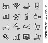 wireless icons set. set of 16... | Shutterstock .eps vector #637446244