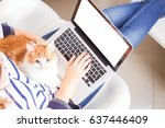 Stock photo someones sitting on chair and using laptop with cat on the lap copy space on empty screen 637446409