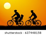 young couple with child on... | Shutterstock .eps vector #637448158