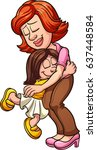 mother and daughter hugging.... | Shutterstock .eps vector #637448584