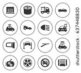 set of 16 car filled icons such ...