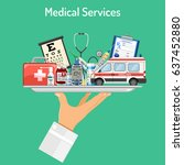 medical services concept with... | Shutterstock .eps vector #637452880