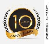 template 10 years anniversary ... | Shutterstock . vector #637455394