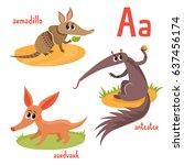 exotic wild animal in cartoon... | Shutterstock .eps vector #637456174