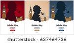 set of sherlock holmes posters. ... | Shutterstock .eps vector #637464736