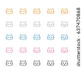 set of icons of cat emotions | Shutterstock .eps vector #637470868