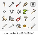 repair tools minimal color flat ... | Shutterstock .eps vector #637473760