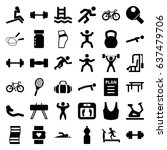 fitness icons set. set of 36... | Shutterstock .eps vector #637479706