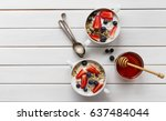 tasty colorful breakfast with... | Shutterstock . vector #637484044