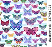 colored raster pattern with... | Shutterstock . vector #637486723