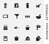 set of 16 editable food icons.... | Shutterstock .eps vector #637490323