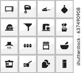 set of 16 editable cooking... | Shutterstock .eps vector #637490908
