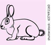 hare rabbit vector silhouette... | Shutterstock .eps vector #637491160