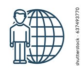 man and globe vector icon in... | Shutterstock .eps vector #637493770
